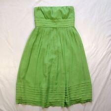 J. Crew Juliet Green Silk Chiffon Strapless Dress Women's sz 4