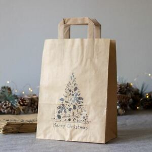 Large Christmas Gift Bags   Festive Kraft Brown Paper Bags Eco-Friendly x10