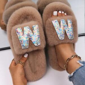 Fluffy Flip Flops Ladies Letter Faux Fur Slides Female Elegant Outdoor Slippers