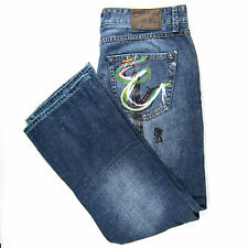 Marc Ecko Jeans Mens Sz 36 Blue Boot Cut & Sew Painted