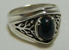 Celtic Tree of Life Ring .925 Sterling Silver Sz 9 World Tree with Bloodstone