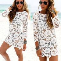 New Sexy Women Lace Crochet Bathing Suit Bikini Swimwear Cover Up Beach Dress