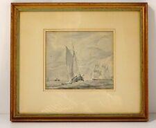 Lavis tableau marine bateaux voiliers Charles Huysmans école belge XIXème