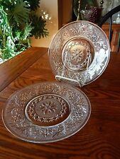 2 Anchor Hocking Crystal Depression Glass Sandwich Lunch & Salad Plates