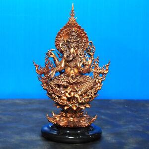 "Thai Amulet Ananta Ganesha Statue 6.75"" Tall Bronze Wat RangKraTai BE2562"