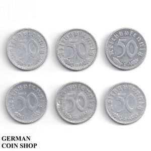 Set 50 Reichspfennig 1935 A D E F G J Aluminium - Drittes Reich