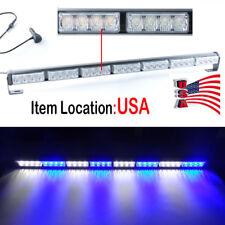 28 LED Emergency Light Bar Warning Flashing Traffic Flash Strobe -Blue& White US
