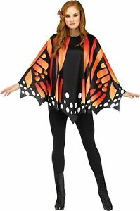 Orange Butterfly Wings Poncho Adult Womens Costume Accessory NEW One Size