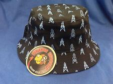 Baby Blue Oilers Printed Black Full-Brim Bucket Hat ONE SIZE Piranha Records