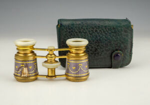 Antique French Gilded Guilloche Enamel & Mother Of Pearl Opera Glasses