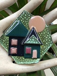 Vintage Large Pretty Colors Glitter Signed LUCINDA HOUSE Brooch Pin