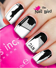 Nail Art Nail Decals Nail Transfers Wraps - NEW YORK CITY SKYLINE SILHOUETTE