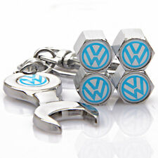 4x Car Tyre Stems Air Cover Valve Caps + Wrench Keychain Key ring for VW Blue
