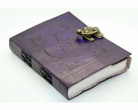 "Purple Pentacle/Pentagram Handmade Leather Journal 7x5"" Wicca Book Of Shadows"