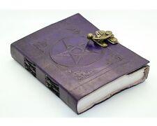 "Purple Pentacle/Pentagram Handmade Leather Journal 7x5"" Wicca Book Of Shadows"