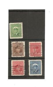 Canada George VI 5 Stamps, War Effort. 1943.