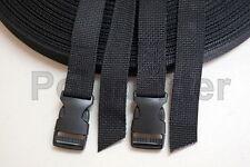 "1 Inch, Nylon Webbing Poly, Pair 48""Tactical Black Lashing Straps USA Made, BKSR"