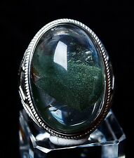 Rare Natural Green ghost Crystal Healing Wealth Silver Plated Adjustable Ring