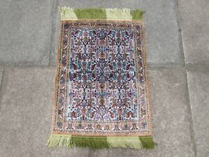 Fine Vintage Hand Made Traditional  Rugs Oriental Silk Blue Small Rug 80x60cm