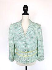 Vtg Kay UNGER Womens Blazer Jacket Blue Green Tweed Ribbon Detail Korea Sz 14