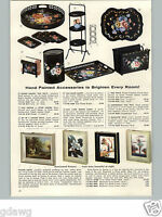1957 PAPER AD Hand Painted Tole Ware Tray Trash Can Magazine Rack Toleware