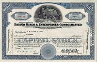 Patino Mines & Enterprises Consolidated Inc., 1954 (50 Shares)