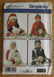 Child Dog Accessories Simplicity 3973 pattern NEW uncut coat hat scarf fleece