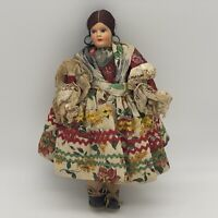 """Antique Bohemian Hungarian Composition Head Cloth Doll in Traditional Dress 11"""""""