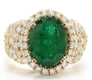 5.80 Carat Natural Emerald and Diamonds in 14K Solid Yellow Gold Women's Ring