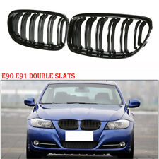 Gloss Black Front Twin Slat Fins Grille For BMW E90 E91 LCI 3Series 2009-2011 4D