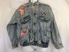 East West Panda Group Denim Jeans Jacket Floral Embellishment M (542)
