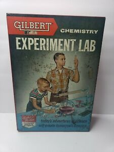 Vintage Gilbert Chemistry Experiment Lab No. 12022 RARE Metal Case VTG 1950s W1