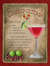 COSMOPOLITAN  COCKTAIL RECIPE METAL SIGN :HOME BAR:PUB:BAR:CAFE:  LOVELY GIFT