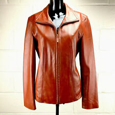 WINLIT Womens Size M Red Leather Jacket