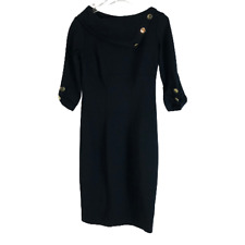 Cache Contour Collection Fitted Knit Mini Pencil Wide Collar Dress Black Size 2