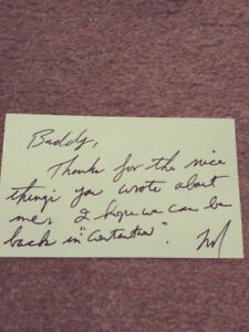Tom Landry Signed Index Card 3x5 Autographed Cowboys NOTE 1987