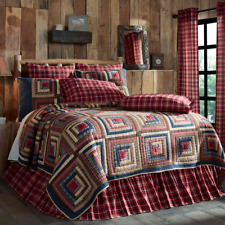 FARMHOUSE COUNTRY PRIMITIVE BRAXTON RED PATCHWORK QUILTED BEDDING COLLECTION