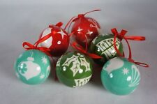 """6 pcs Christmas Balls for Tree Ornaments Decoration 2"""" 5 cm Red Green New in Box"""