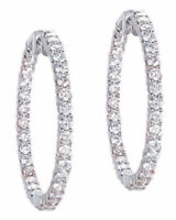 2.51 ct 50 x 0.05, Round Diamond 14k White Gold HOOP Earrings G color SI1 1 inch