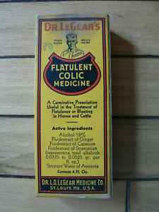unopened box with bottle, Dr, LeGear's, Horses & Cattle, St Louis, Mo