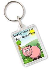 Personalised Kids Childs School Bag Tag Animal Keyring With Pig AK76