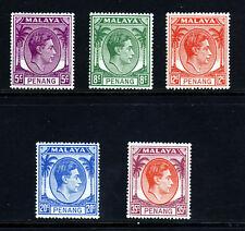PENANG MALAYSIA King George VI 1952 Later Printings SG 7 to SG 17 MINT