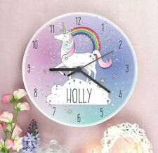 Childrens Personalised Unicorn Wooden Clock Any Name Magical Bedroom