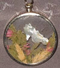 Vintage Pressed Carved MOP Seahorse & Seaweed Scene In Glass Round Pendant (J)