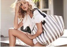 NWT in Plastic ~ 2018 Victoria's Secret Canvas Gray White Striped Tote Beach Bag