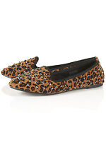 TOPSHOP VECTRA5 Leopard stud slippers UK 6 in Multi/Leopard ( New without box )