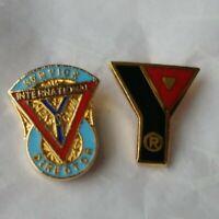 Lot 2 YMCA Lapel Pins Y Logo & International Men's Club Service Director Pin