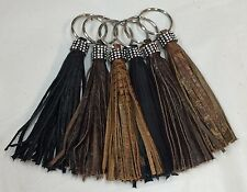 Wholesale Lot of 6 Raviani Genuine Leather Fringe Key Rings Made In Usa