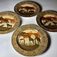 "Set Of 4 Sunset Safari 222 Fifth 8 1/2"" Salad Dessert Plates"