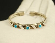 Mexico Sterling Silver Double Cable w/ Turquoise Cuff Bracelet 30.6g - Small